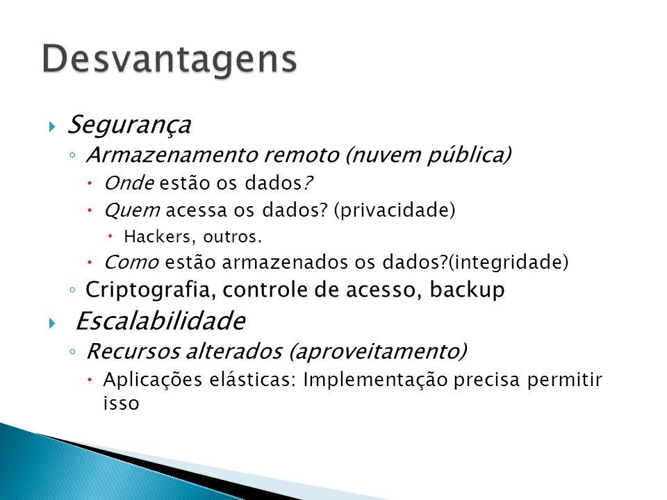 Segurança Armazenamento remoto (nuvem pública) Onde estão os dados? Quem acessa os dados? (privacidade) Hackers, outros. Como estão armazenados os dad