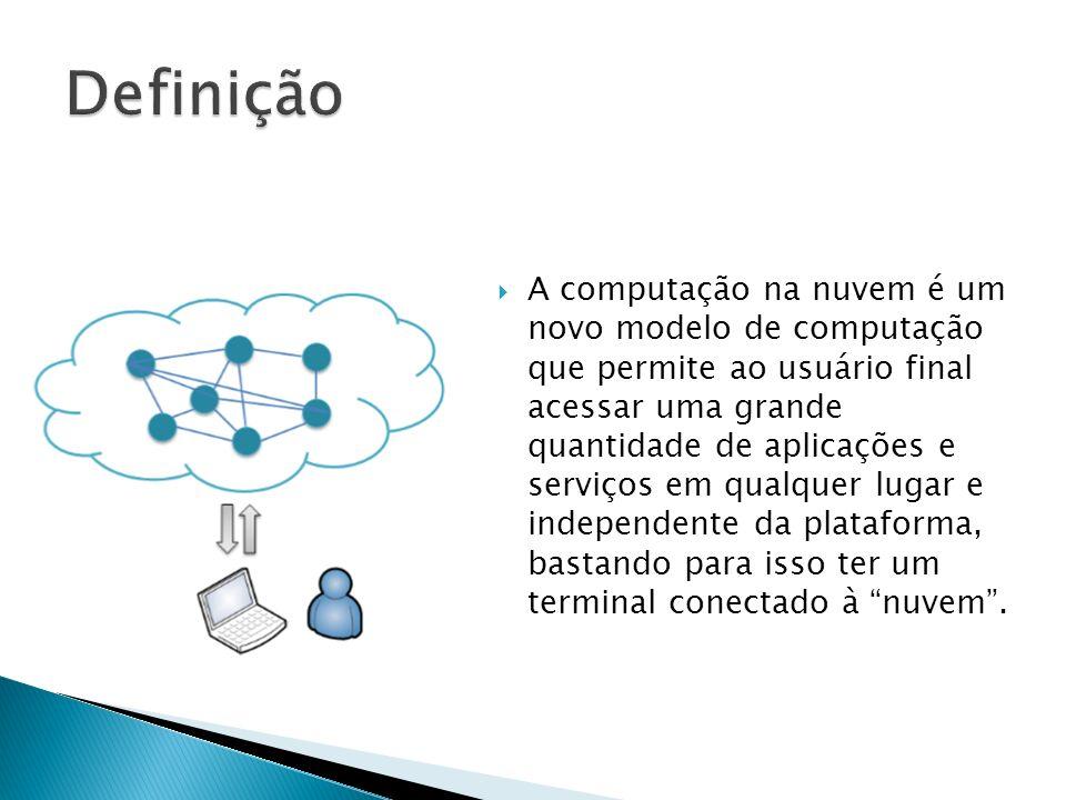 A computação na nuvem é um novo modelo de computação que permite ao usuário final acessar uma grande quantidade de aplicações e serviços em qualquer l