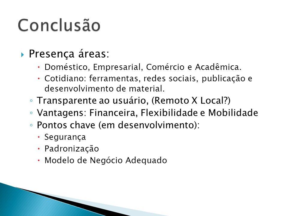 Presença áreas: Doméstico, Empresarial, Comércio e Acadêmica. Cotidiano: ferramentas, redes sociais, publicação e desenvolvimento de material. Transpa