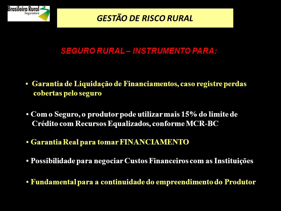 como reduzir o risco de produção POLÍTICA DO GOVERNO PARA DESENVOLVER O MERCADO DE SEGURO RURAL como utilizar os produtos de seguro rural O Seguro Rural no Brasil