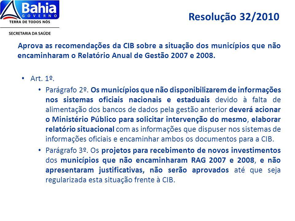 Aprova as recomendações da CIB sobre a situação dos municípios que não encaminharam o Relatório Anual de Gestão 2007 e 2008. Art. 1º. Parágrafo 2º. Os