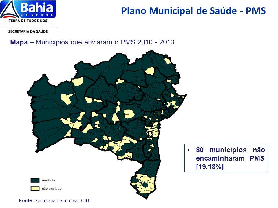 Plano Municipal de Saúde - PMS Fonte: Secretaria Executiva - CIB Mapa – Municípios que enviaram o PMS 2010 - 2013 80 municípios não encaminharam PMS [