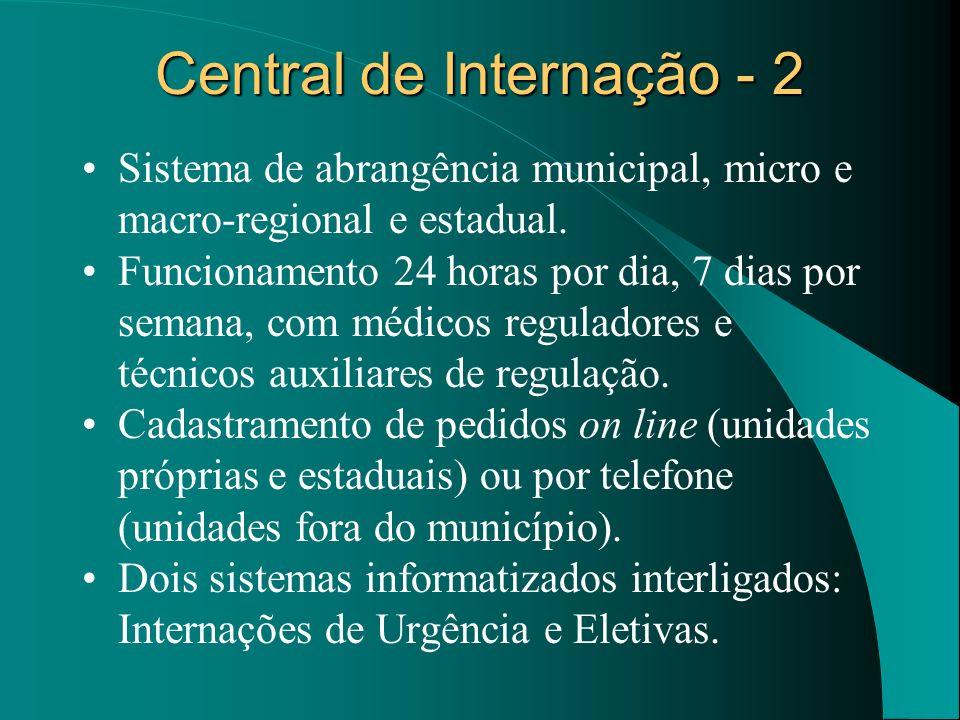Central de Internação - 2 Sistema de abrangência municipal, micro e macro-regional e estadual. Funcionamento 24 horas por dia, 7 dias por semana, com