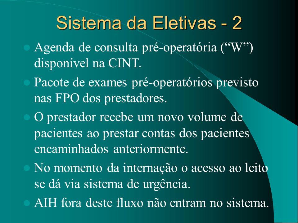 Sistema da Eletivas - 2 Agenda de consulta pré-operatória (W) disponível na CINT. Pacote de exames pré-operatórios previsto nas FPO dos prestadores. O