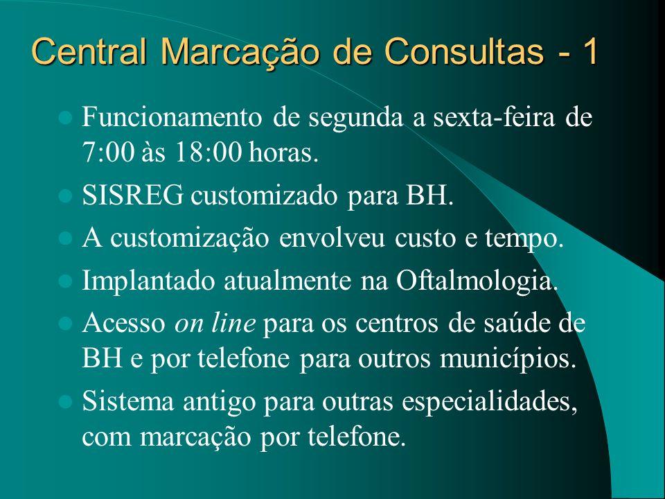 Central Marcação de Consultas - 1 Funcionamento de segunda a sexta-feira de 7:00 às 18:00 horas. SISREG customizado para BH. A customização envolveu c