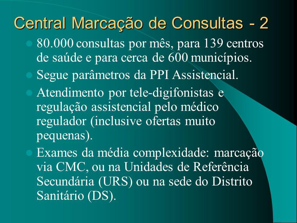Central Marcação de Consultas - 2 80.000 consultas por mês, para 139 centros de saúde e para cerca de 600 municípios. Segue parâmetros da PPI Assisten