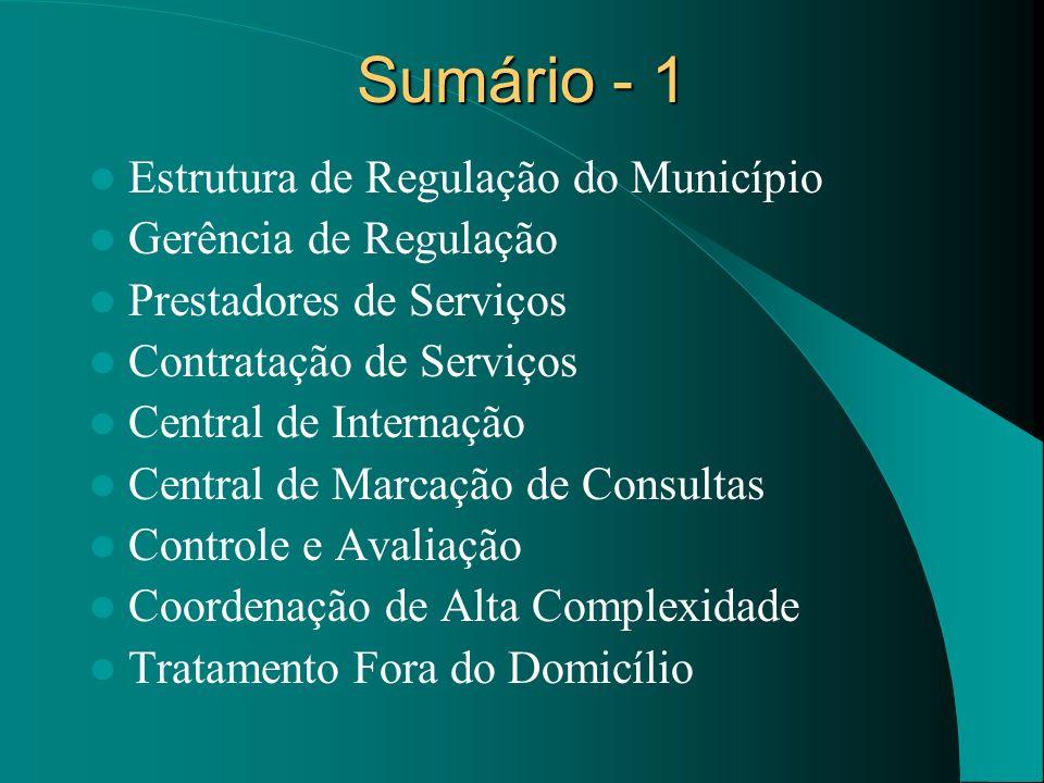 Sumário - 1 Estrutura de Regulação do Município Gerência de Regulação Prestadores de Serviços Contratação de Serviços Central de Internação Central de