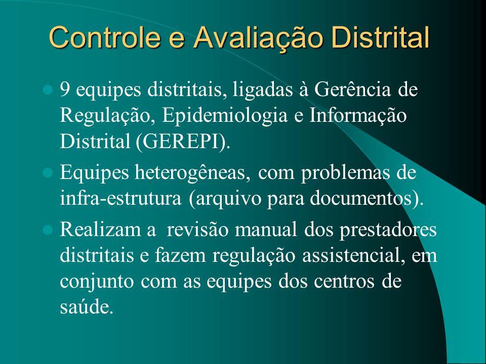 Controle e Avaliação Distrital 9 equipes distritais, ligadas à Gerência de Regulação, Epidemiologia e Informação Distrital (GEREPI). Equipes heterogên