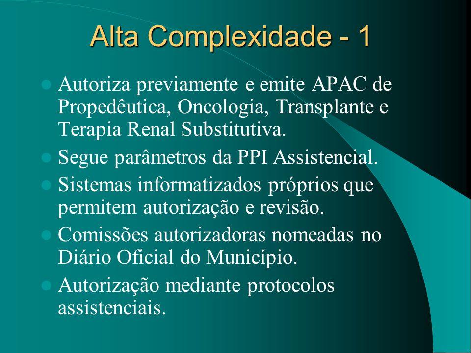 Alta Complexidade - 1 Autoriza previamente e emite APAC de Propedêutica, Oncologia, Transplante e Terapia Renal Substitutiva. Segue parâmetros da PPI
