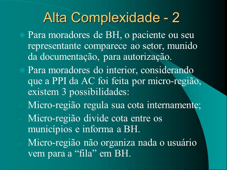 Alta Complexidade - 2 Para moradores de BH, o paciente ou seu representante comparece ao setor, munido da documentação, para autorização. Para morador