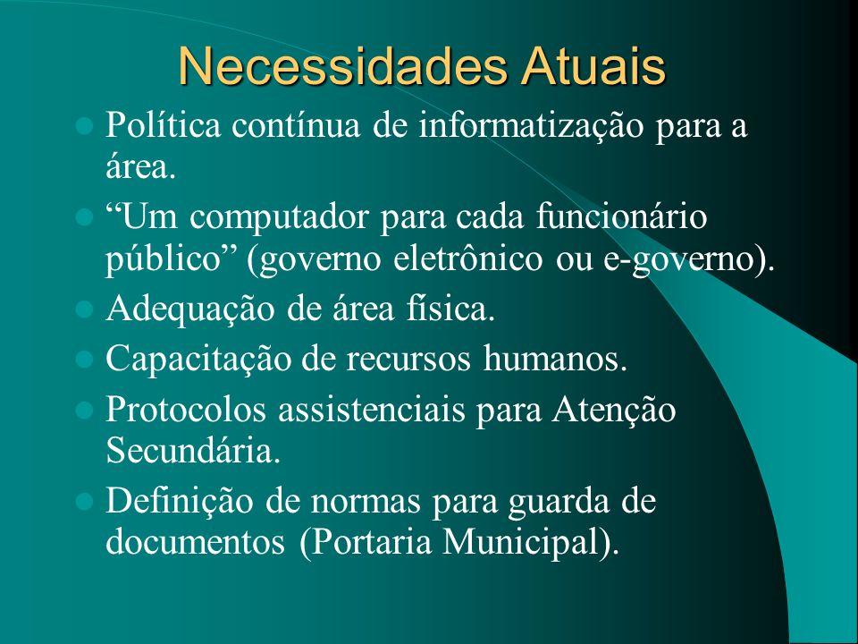 Necessidades Atuais Política contínua de informatização para a área. Um computador para cada funcionário público (governo eletrônico ou e-governo). Ad