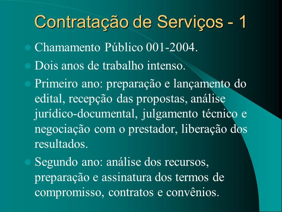 Contratação de Serviços - 1 Chamamento Público 001-2004. Dois anos de trabalho intenso. Primeiro ano: preparação e lançamento do edital, recepção das