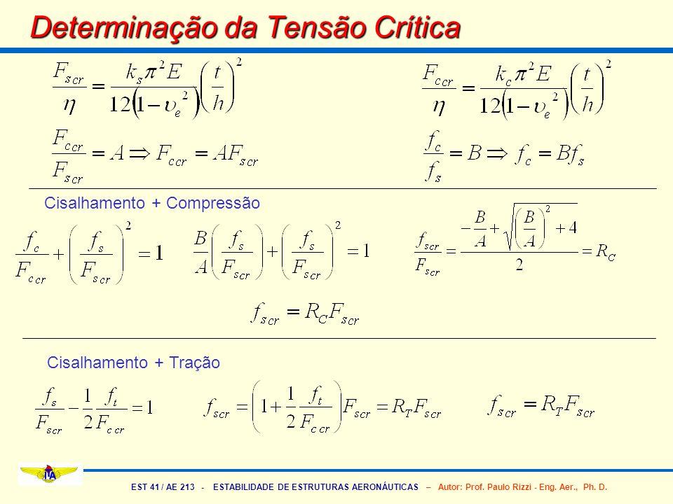 EST 41 / AE 213 - ESTABILIDADE DE ESTRUTURAS AERONÁUTICAS – Autor: Prof. Paulo Rizzi - Eng. Aer., Ph. D. Determinação da Tensão Crítica Cisalhamento +
