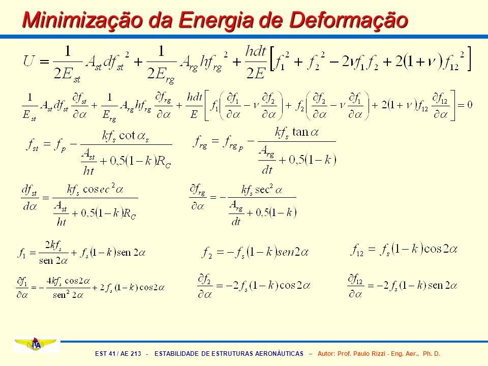 EST 41 / AE 213 - ESTABILIDADE DE ESTRUTURAS AERONÁUTICAS – Autor: Prof. Paulo Rizzi - Eng. Aer., Ph. D. Minimização da Energia de Deformação
