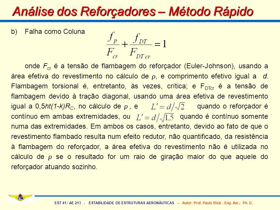 EST 41 / AE 213 - ESTABILIDADE DE ESTRUTURAS AERONÁUTICAS – Autor: Prof. Paulo Rizzi - Eng. Aer., Ph. D. b)Falha como Coluna onde F cr é a tensão de f