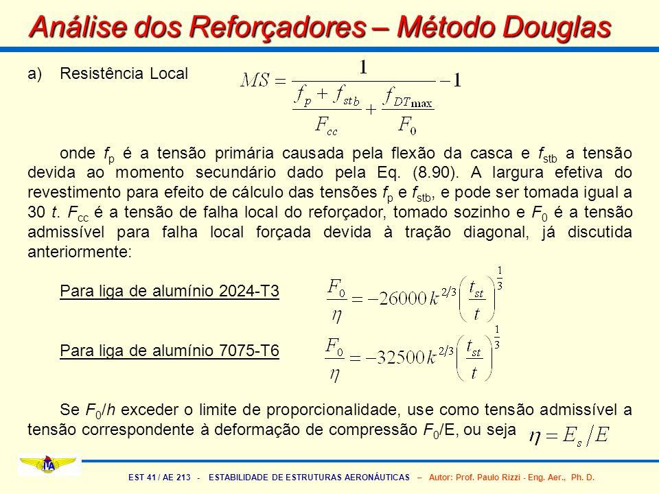 EST 41 / AE 213 - ESTABILIDADE DE ESTRUTURAS AERONÁUTICAS – Autor: Prof. Paulo Rizzi - Eng. Aer., Ph. D. a)Resistência Local onde f p é a tensão primá