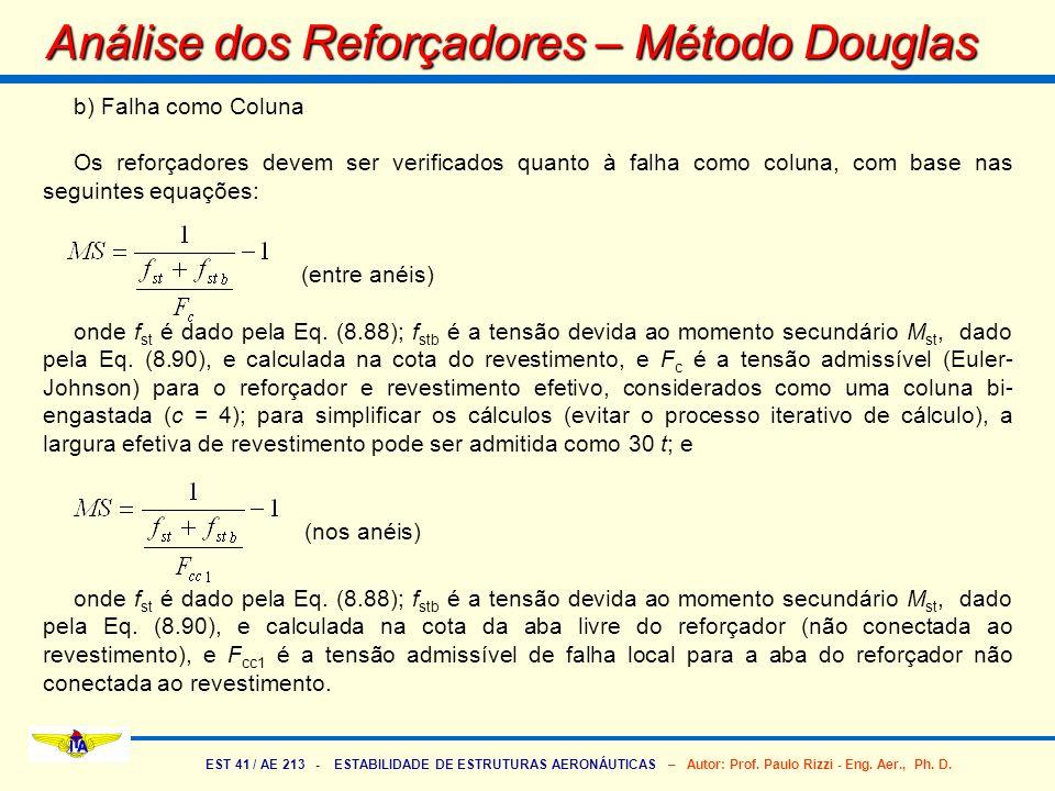 EST 41 / AE 213 - ESTABILIDADE DE ESTRUTURAS AERONÁUTICAS – Autor: Prof. Paulo Rizzi - Eng. Aer., Ph. D. b) Falha como Coluna Os reforçadores devem se