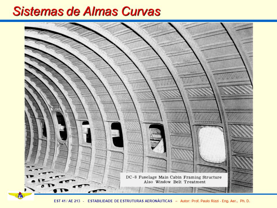 EST 41 / AE 213 - ESTABILIDADE DE ESTRUTURAS AERONÁUTICAS – Autor: Prof. Paulo Rizzi - Eng. Aer., Ph. D. Sistemas de Almas Curvas
