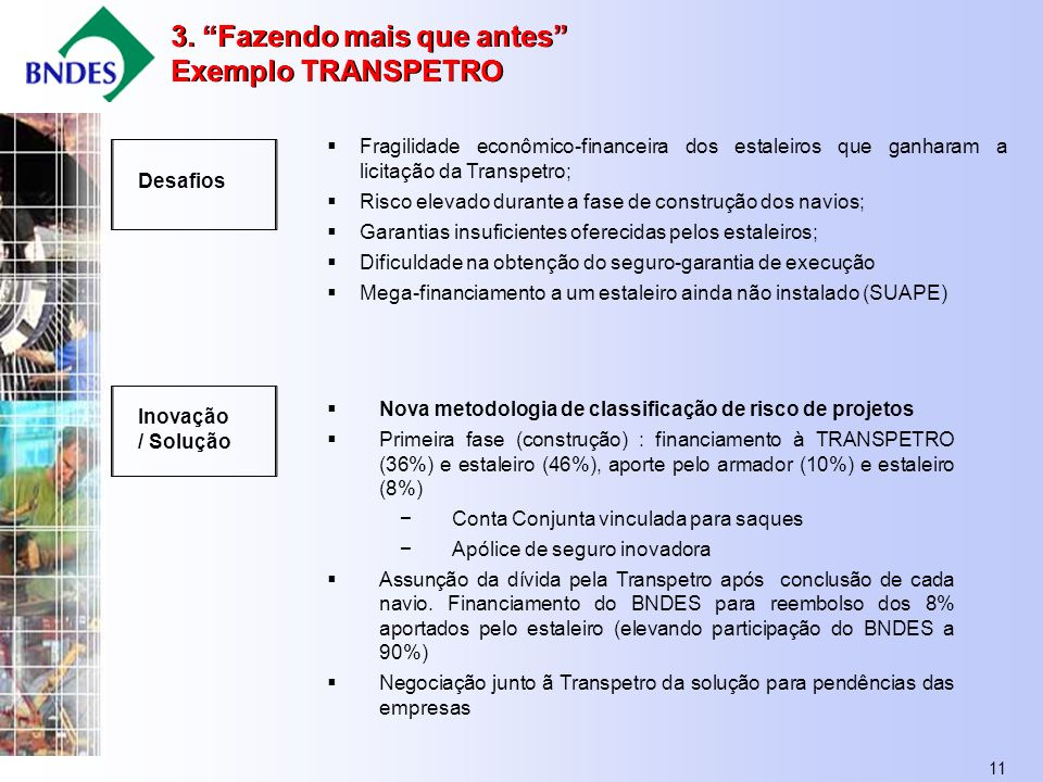 11 Desafios Inovação / Solução Fragilidade econômico-financeira dos estaleiros que ganharam a licitação da Transpetro; Risco elevado durante a fase de construção dos navios; Garantias insuficientes oferecidas pelos estaleiros; Dificuldade na obtenção do seguro-garantia de execução Mega-financiamento a um estaleiro ainda não instalado (SUAPE) Nova metodologia de classificação de risco de projetos Primeira fase (construção) : financiamento à TRANSPETRO (36%) e estaleiro (46%), aporte pelo armador (10%) e estaleiro (8%) Conta Conjunta vinculada para saques Apólice de seguro inovadora Assunção da dívida pela Transpetro após conclusão de cada navio.