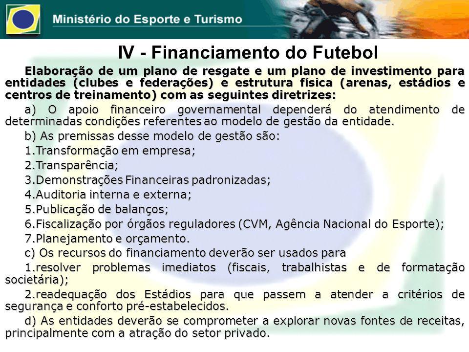 IV - Financiamento do Futebol Elaboração de um plano de resgate e um plano de investimento para entidades (clubes e federações) e estrutura física (ar