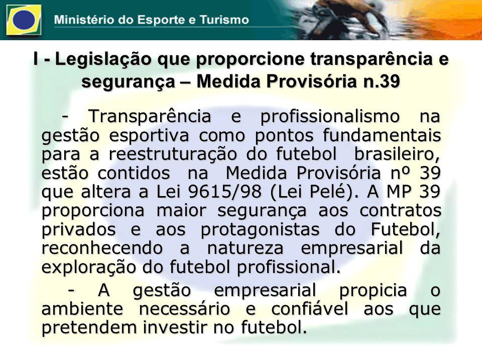 I - Legislação que proporcione transparência e segurança – Medida Provisória n.39 - Transparência e profissionalismo na gestão esportiva como pontos f