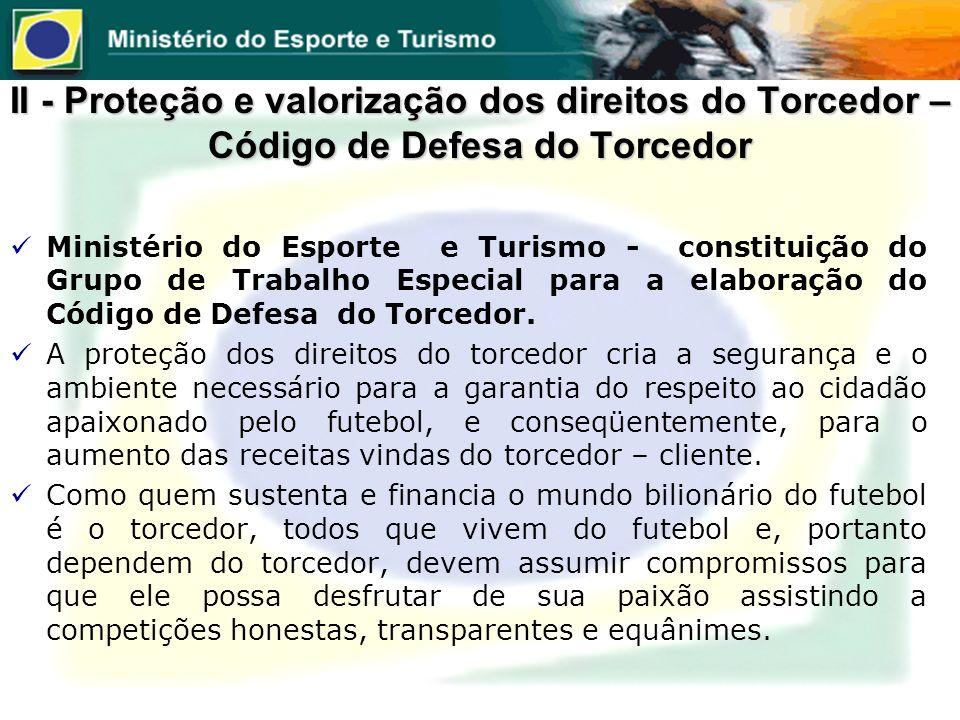 Ministério do Esporte e Turismo - constituição do Grupo de Trabalho Especial para a elaboração do Código de Defesa do Torcedor. A proteção dos direito