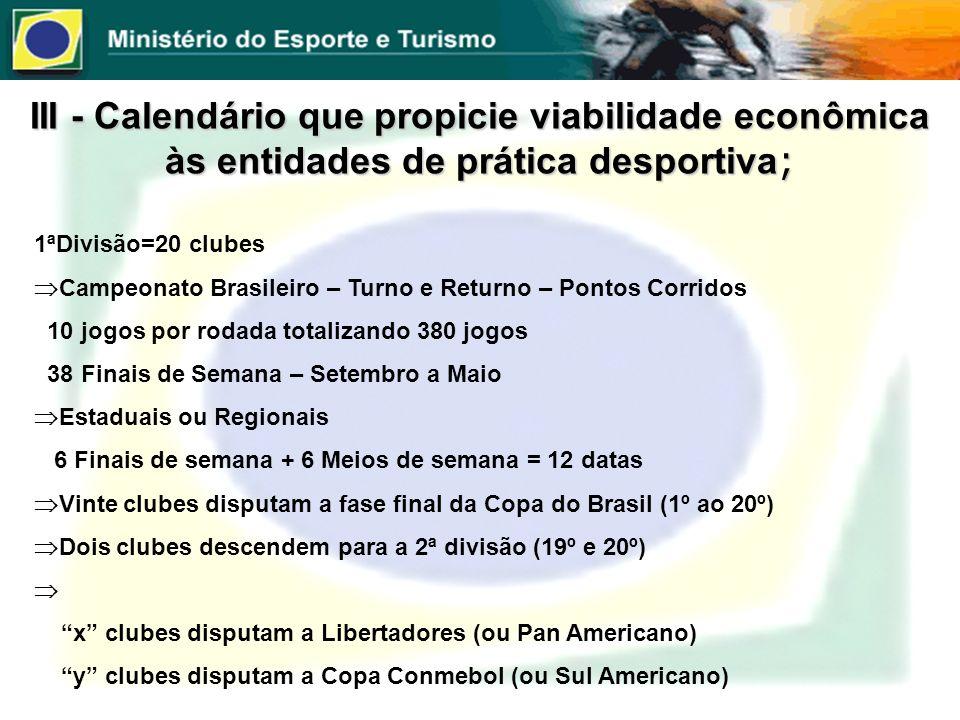 III - Calendário que propicie viabilidade econômica às entidades de prática desportiva ; 1ªDivisão=20 clubes Campeonato Brasileiro – Turno e Returno –