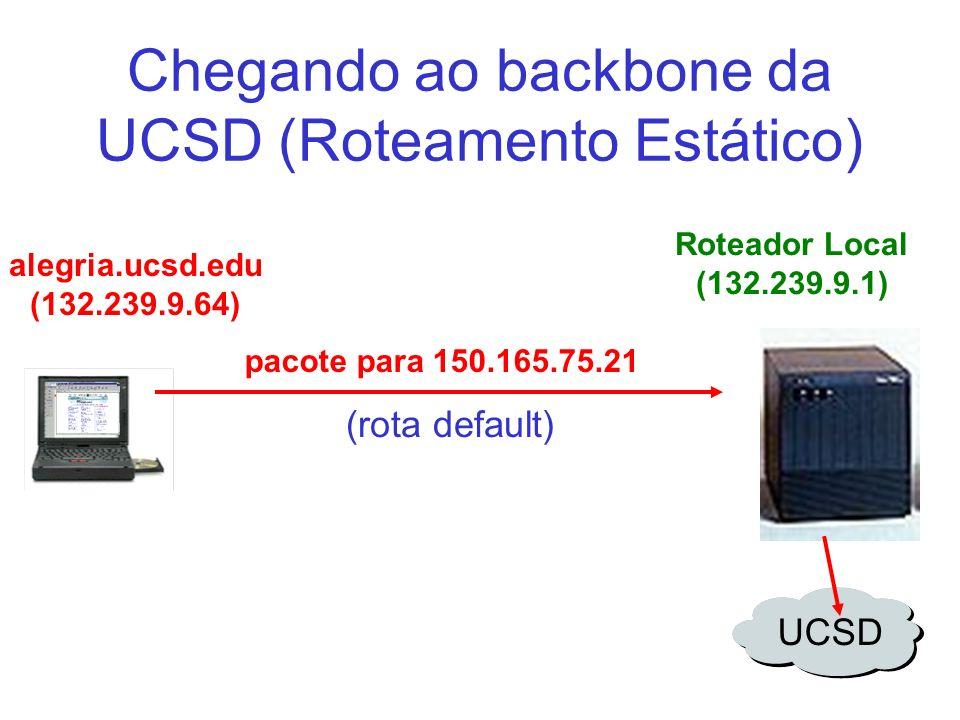 Chegando ao backbone da UCSD (Roteamento Estático) Roteador Local (132.239.9.1) pacote para 150.165.75.21 alegria.ucsd.edu (132.239.9.64) UCSD (rota d