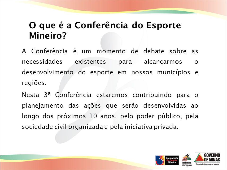 O que é a Conferência do Esporte Mineiro? A Conferência é um momento de debate sobre as necessidades existentes para alcançarmos o desenvolvimento do