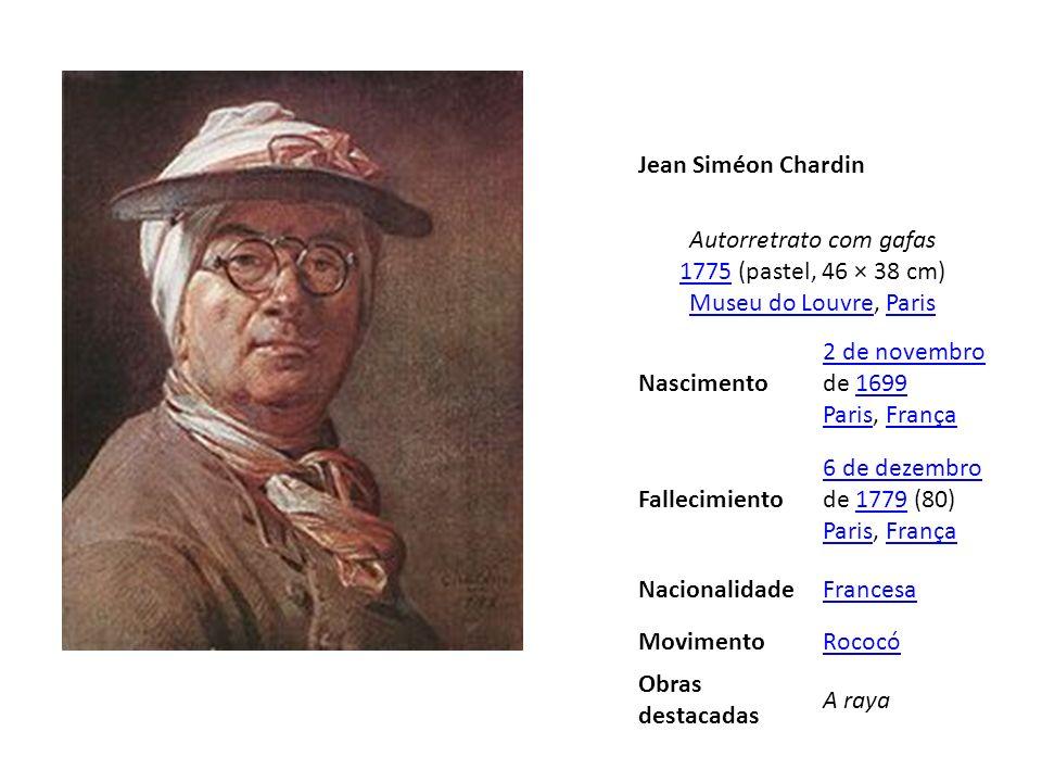 Jean Siméon Chardin Autorretrato com gafas 1775 (pastel, 46 × 38 cm) Museu do Louvre, Paris 1775 Museu do LouvreParis Nascimento 2 de novembro 2 de no