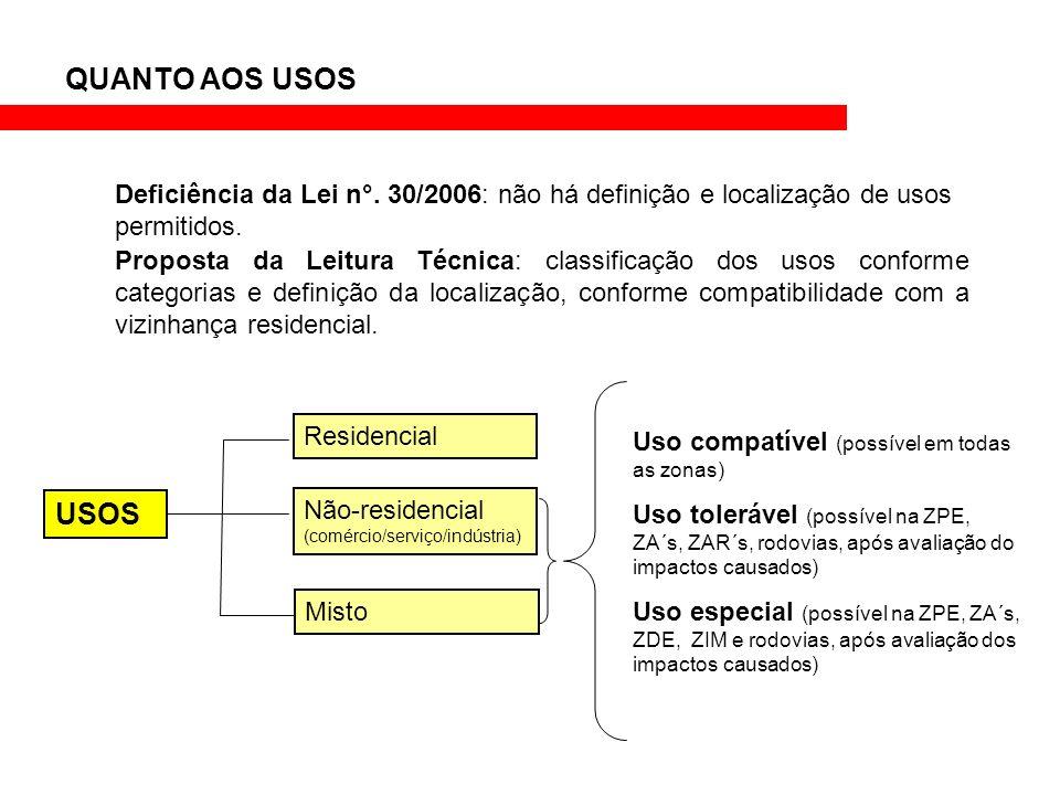 Deficiência da Lei n°. 30/2006: não há definição e localização de usos permitidos. Proposta da Leitura Técnica: classificação dos usos conforme catego