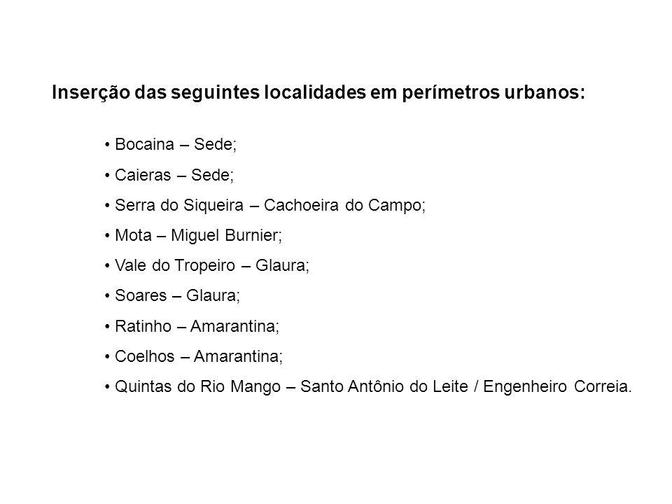 Inserção das seguintes localidades em perímetros urbanos: Bocaina – Sede; Caieras – Sede; Serra do Siqueira – Cachoeira do Campo; Mota – Miguel Burnie