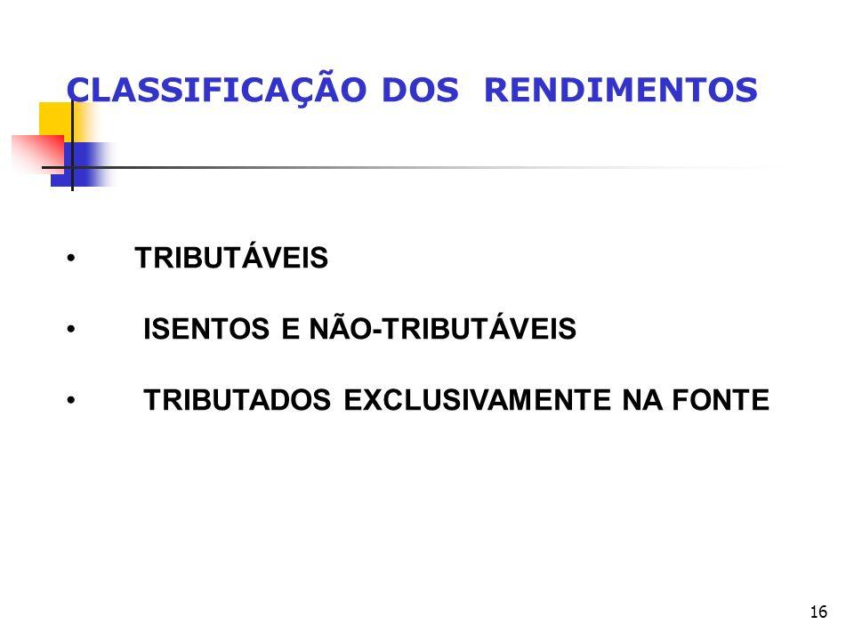 16 CLASSIFICAÇÃO DOS RENDIMENTOS TRIBUTÁVEIS ISENTOS E NÃO-TRIBUTÁVEIS TRIBUTADOS EXCLUSIVAMENTE NA FONTE