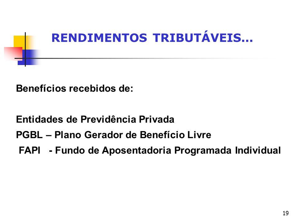 19 RENDIMENTOS TRIBUTÁVEIS... Benefícios recebidos de: Entidades de Previdência Privada PGBL – Plano Gerador de Benefício Livre FAPI - Fundo de Aposen