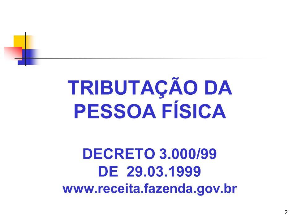 2 TRIBUTAÇÃO DA PESSOA FÍSICA DECRETO 3.000/99 DE 29.03.1999 www.receita.fazenda.gov.br