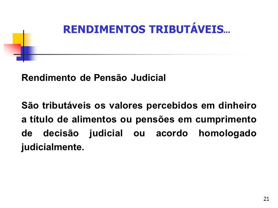 21 RENDIMENTOS TRIBUTÁVEIS... Rendimento de Pensão Judicial São tributáveis os valores percebidos em dinheiro a título de alimentos ou pensões em cump