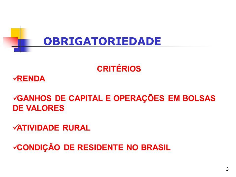 3 OBRIGATORIEDADE CRITÉRIOS RENDA GANHOS DE CAPITAL E OPERAÇÕES EM BOLSAS DE VALORES ATIVIDADE RURAL CONDIÇÃO DE RESIDENTE NO BRASIL