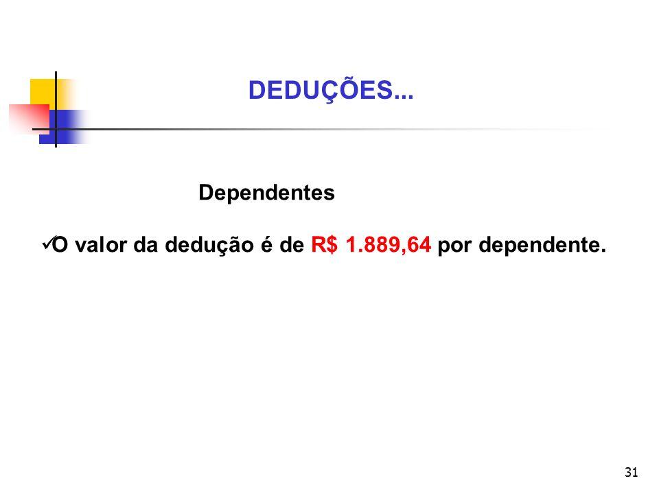 31 DEDUÇÕES... Dependentes O valor da dedução é de R$ 1.889,64 por dependente.