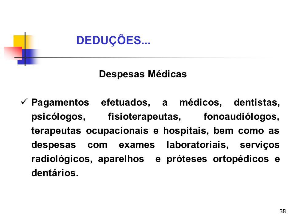 38 Despesas Médicas Pagamentos efetuados, a médicos, dentistas, psicólogos, fisioterapeutas, fonoaudiólogos, terapeutas ocupacionais e hospitais, bem