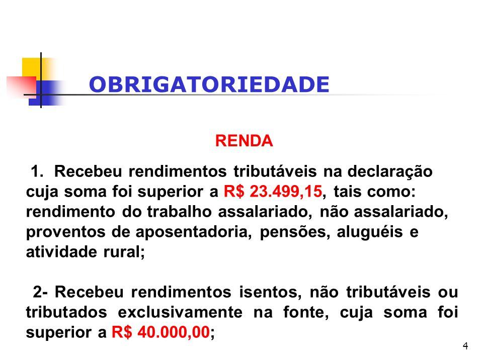 4 OBRIGATORIEDADE RENDA 1. Recebeu rendimentos tributáveis na declaração cuja soma foi superior a R$ 23.499,15, tais como: rendimento do trabalho assa