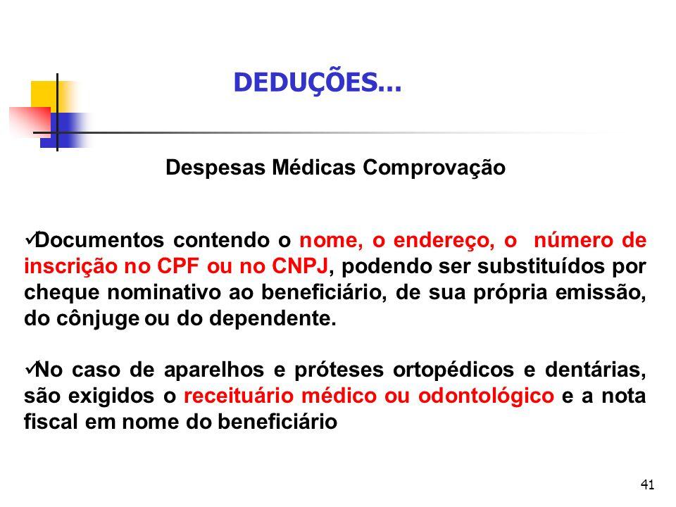 41 Despesas Médicas Comprovação Documentos contendo o nome, o endereço, o número de inscrição no CPF ou no CNPJ, podendo ser substituídos por cheque n