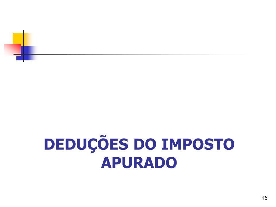 DEDUÇÕES DO IMPOSTO APURADO 46