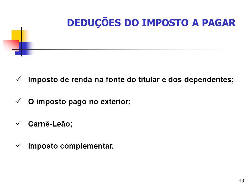 49 DEDUÇÕES DO IMPOSTO A PAGAR Imposto de renda na fonte do titular e dos dependentes; O imposto pago no exterior; Carnê-Leão; Imposto complementar.
