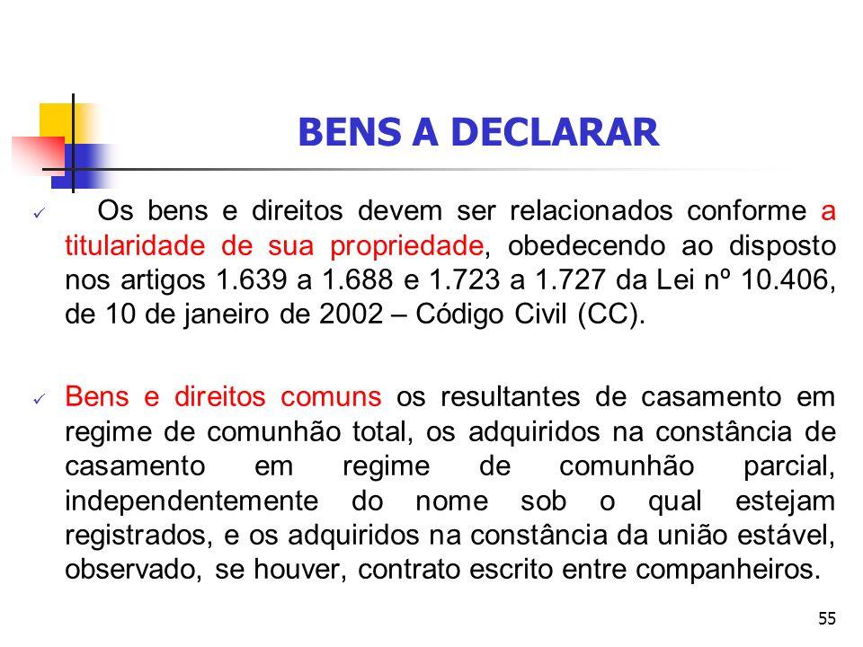 55 BENS A DECLARAR Os bens e direitos devem ser relacionados conforme a titularidade de sua propriedade, obedecendo ao disposto nos artigos 1.639 a 1.