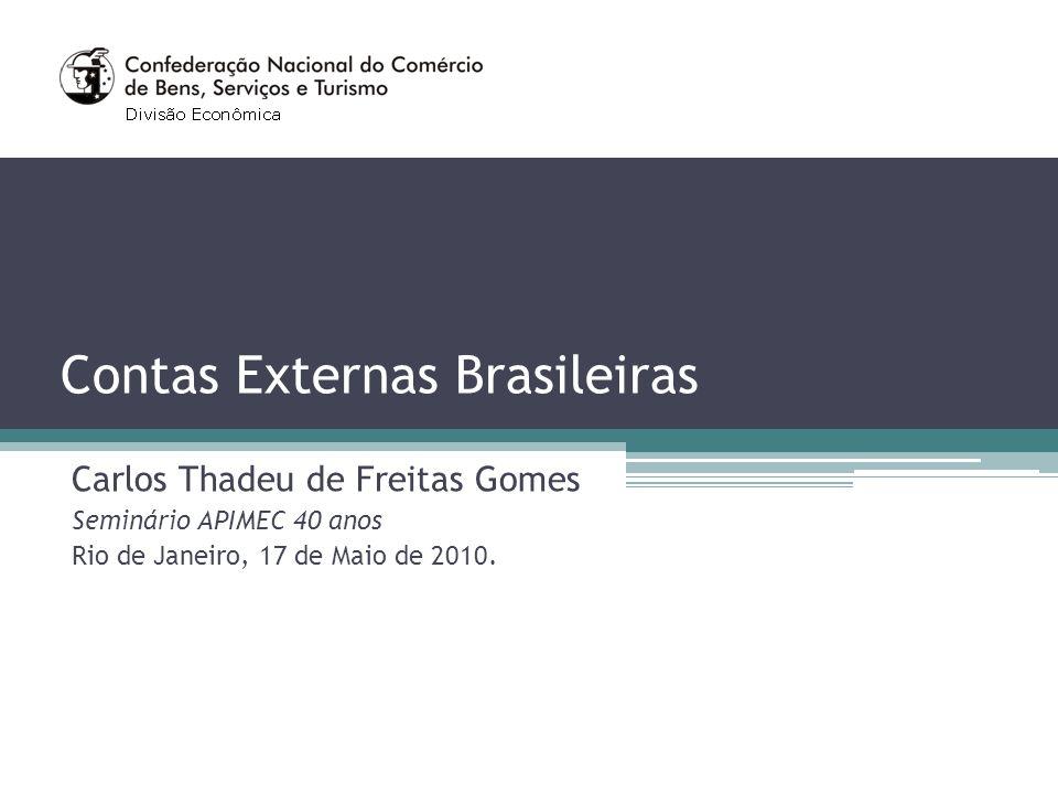 Contas Externas Brasileiras Carlos Thadeu de Freitas Gomes Seminário APIMEC 40 anos Rio de Janeiro, 17 de Maio de 2010.