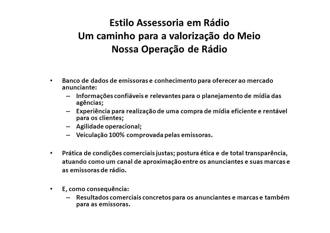 Estilo Assessoria em Rádio Um caminho para a valorização do Meio Nossa Operação de Rádio Banco de dados de emissoras e conhecimento para oferecer ao m