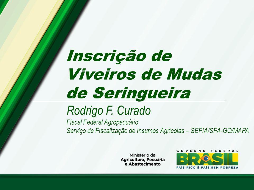 Inscrição de Viveiros de Mudas de Seringueira Rodrigo F. Curado Fiscal Federal Agropecuário Serviço de Fiscalização de Insumos Agrícolas – SEFIA/SFA-G