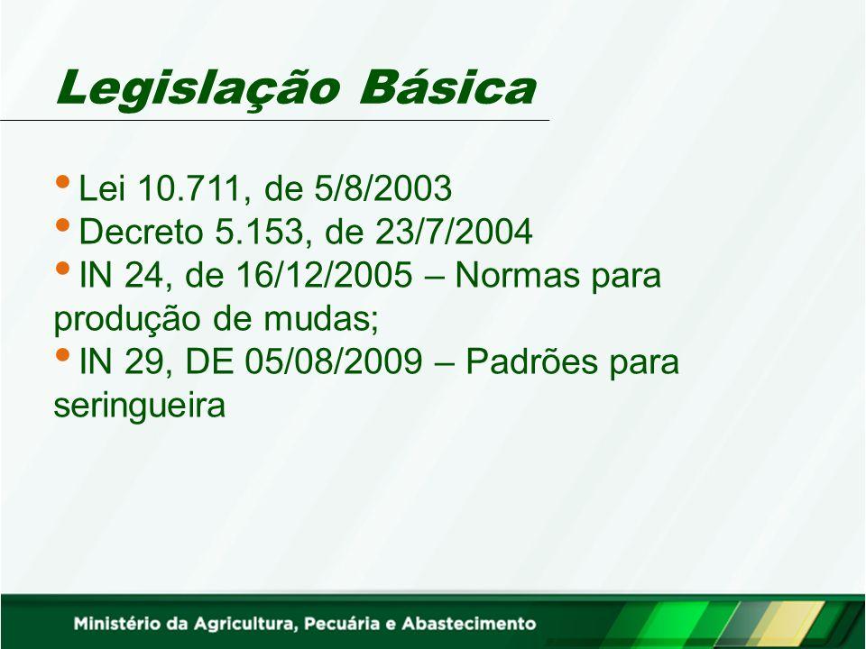 Legislação Básica Lei 10.711, de 5/8/2003 Decreto 5.153, de 23/7/2004 IN 24, de 16/12/2005 – Normas para produção de mudas; IN 29, DE 05/08/2009 – Pad