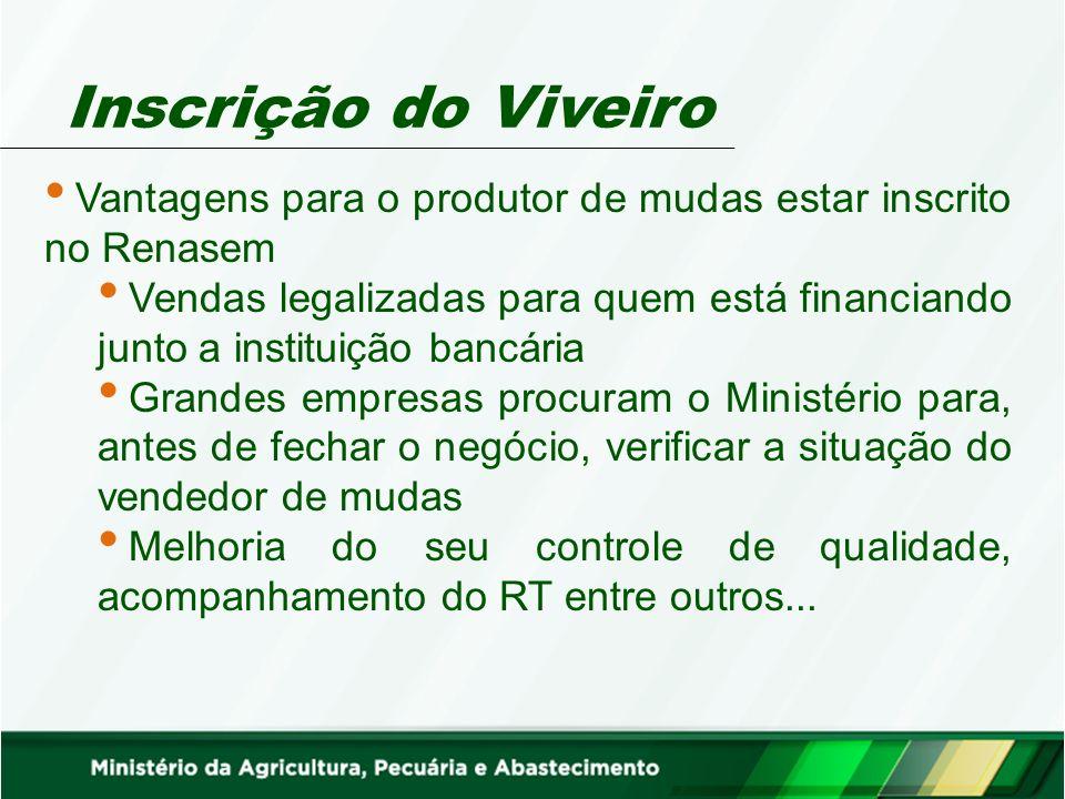 Inscrição do Viveiro Vantagens para o produtor de mudas estar inscrito no Renasem Vendas legalizadas para quem está financiando junto a instituição ba