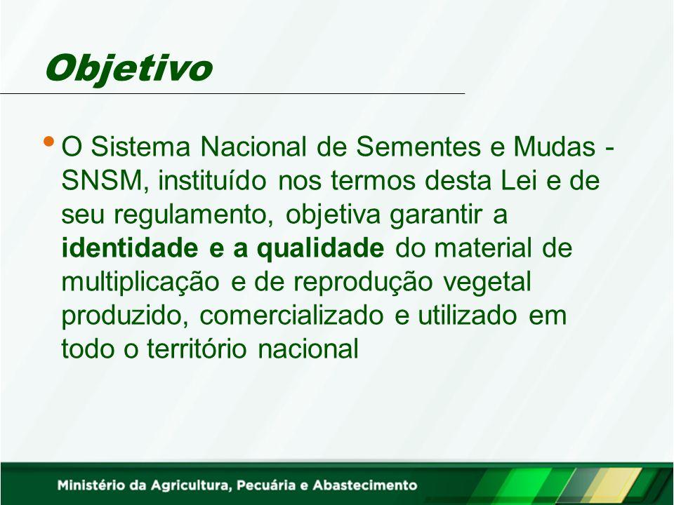 Objetivo O Sistema Nacional de Sementes e Mudas - SNSM, instituído nos termos desta Lei e de seu regulamento, objetiva garantir a identidade e a quali